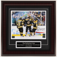 Brad Marchand, David Pastrnak, & Patrice Bergeron Signed Boston Bruins 16x16 Custom Framed Photo Display (Bergeron COA, Pastrnak COA, & Merchand COA) at PristineAuction.com