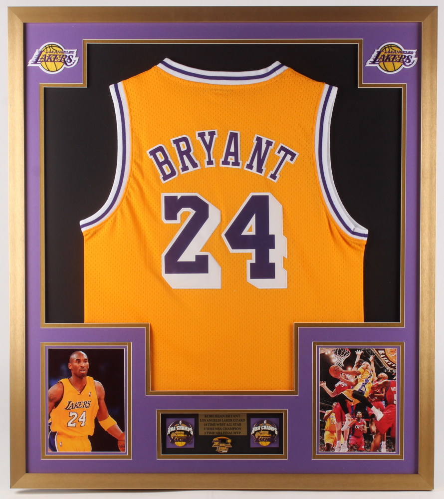 Kobe Bryant Los Angeles Lakers 32x36 Custom Framed Jersey with (3) 2000 NBA Championship Pins at PristineAuction.com