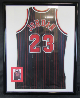 Michael Jordan Signed Chicago Bulls 35x43 Custom Framed Champions Jersey (UDA COA)