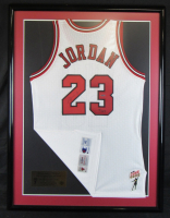 Michael Jordan Signed Chicago Bulls 32x42 Custom Framed Champions Jersey With Mr. June Patch (UDA Hologram)