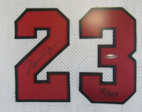 Michael Jordan Signed Chicago Bulls 32x42 Custom Framed Champions Jersey With Mr. June Patch (UDA Hologram) at PristineAuction.com