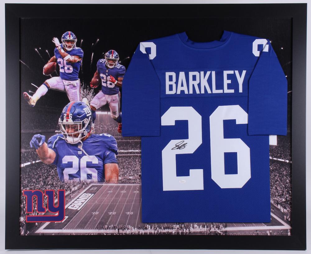 a4c894b4990 Saquon Barkley Signed New York Giants 35.5x43.5 Custom Framed Jersey (JSA  COA