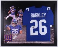 Saquon Barkley Signed New York Giants 35.5x43.5 Custom Framed Jersey (JSA COA)