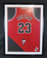 Michael Jordan Signed Chicago Bulls 32x42 Custom Framed Jersey With Mr. June Patch (UDA Hologram)