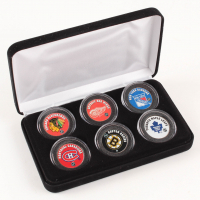 """The Original Six"" NHL Teams 6-Coin Colorized Set with Bruins, Rangers, Blackhawks, Red Wings, Maple Leafs & Canadiens (COA)"