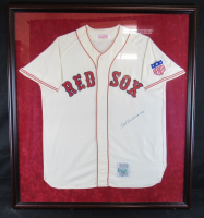 Ted Williams Signed Boston Red Sox 39x43 Custom Framed Jersey (UDA COA)