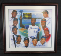 500 Home Run Club 24x28 Custom Framed Lithograph Signed By (11) with Ted Williams, Willie Mays, Hank Aaron, Willie McCovey, Ernie Banks, Harmon Killebrew, Reggie Jackson (JSA LOA)
