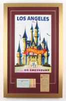 """Disneyland"" 17x27 Custom Framed Poster Print Display with Vintage Ticket & Parking Pass"
