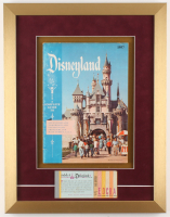 Disneyland 15.5x20 Custom Framed 1957 Guide Display with Ticket Booklet