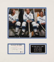 The Howe Family Signed 14x16 Index Card Cut Display By (4) With Gordie Howe, Marty Howe, Murray Howe, & Mark Howe With Photo (Beckett LOA) at PristineAuction.com