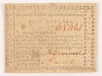 1778 $5 Five-Dollars North Carolina Colonial Currency Note