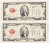 Lot of (2) 1928-F $2 Two-Dollar Red Seal United States Legal Tender Notes with Consecutive Serial Numbers