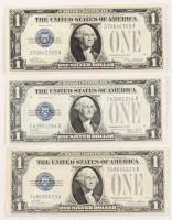 """Lot of (3) """"Funny Back"""" $1 One Dollar U.S. Silver Certificates with 1928, 1928-A & 1928-B"""