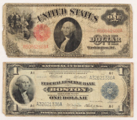 Lot of (2) $1 Notes with 1917 Legal Tender Note & 1918 Federal Reserve Bank Note