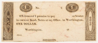 1800's Worthington, Ohio $1 One-Dollar Bank Note Bill (Crisp, Uncirculated Condition)