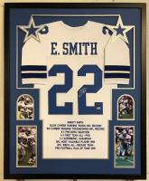 0404c4dbf4b Emmitt Smith Signed Dallas Cowboys 34x42 Custom Framed Career Highlight  Stat Jersey (Beckett COA &