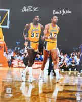 Magic Johnson & Kareem Abdul-Jabbar Signed Los Angeles Lakers 16x20 Photo (Beckett COA)