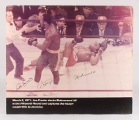 Muhammad Ali, Joe Frazier & Arthur Mercante Sr. Signed 31x36 Print On Board (PSA LOA)