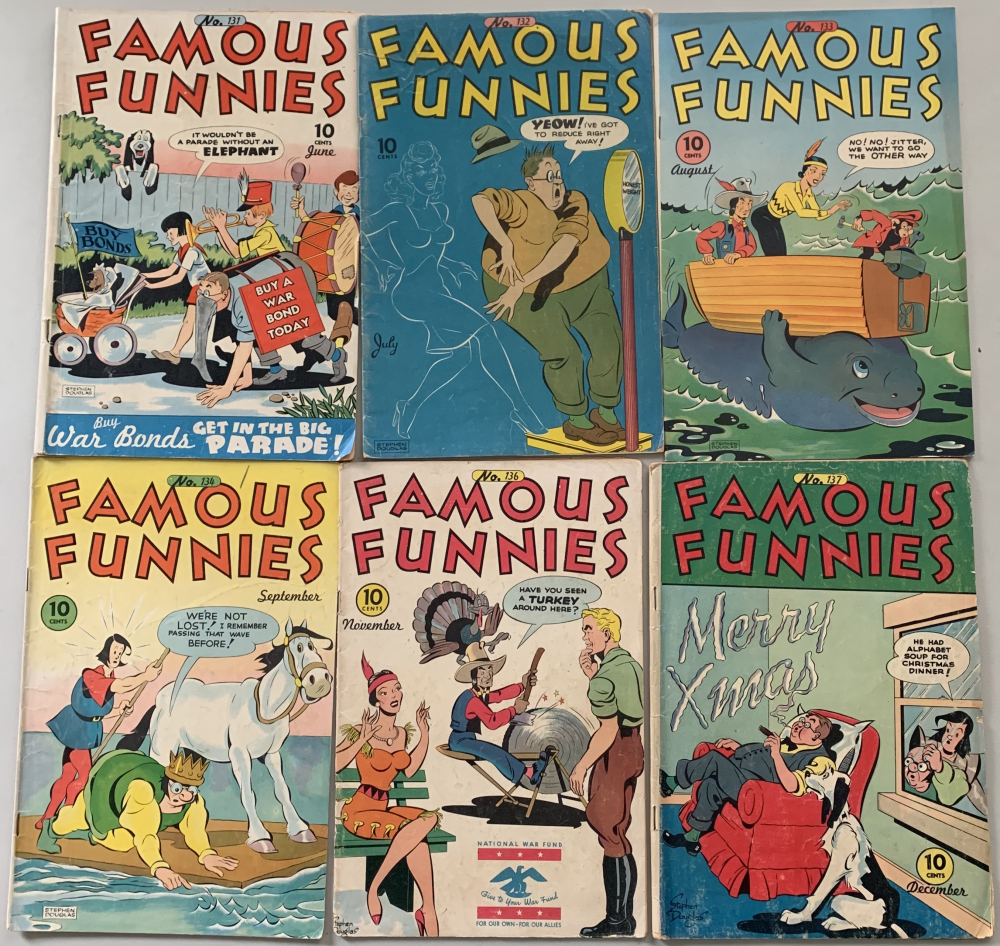 "Lot of (6) 1945 ""Famous Funnies"" Comic Books with #131-134, 136 & 137 at PristineAuction.com"
