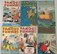 """Lot of (6) 1945 """"Famous Funnies"""" Comic Books with #131-134, 136 & 137"""