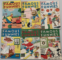 """Lot of (6) 1948-1949 """"Famous Funnies"""" Comic Books with #166, #168 & #171-174"""
