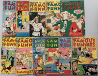 """Lot of (11) 1949-1950 """"Famous Funnies"""" Comic Books with #181-186, #188-190 & #192-193"""