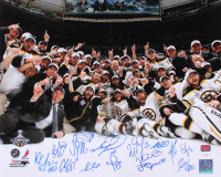 2011 Boston Bruins Stanley Cup Champions 16x20 Team-Signed by (15) with Brad Marchan, Patrice Bergeron, Mark Recchi, Adam Mcquaid, Dennis Seidenberg (YSMS COA & JSA Hologram)