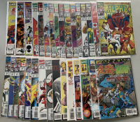 """Lot of (31) Marvel """"Alpha Flight"""" Comic Books with 1983 1st Series #1, #10, #33, #109-130, 1997 2nd Series #1, #5, #11, #16, #20, & 1998 Annual"""