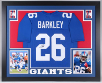 Saquon Barkley Signed 35x43 Custom Framed Jersey (JSA COA) at PristineAuction.com