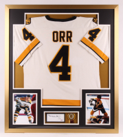 Bobby Orr Signed Vitnage Boston Bruins 32x36 Custom Framed Cut Display With Boston Bruin Pin (PSA COA)
