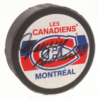 Maurice Richard Signed Montreal Canadiens Logo Hockey Puck (JSA COA)