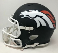"Peyton Manning Signed Denver Broncos Limited Edition Custom Matte Black Full-Size Authentic On-Field Speed Helmet Inscribed ""5x NFL MVP"" (Fanatics Hologram) at PristineAuction.com"