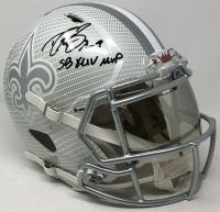 "Drew Brees Signed New Orleans Saints Full-Size Authentic On-Field Hydro Dipped Speed Helmet with Visor Inscribed ""SB XLIV MVP"" (Steiner COA) at PristineAuction.com"