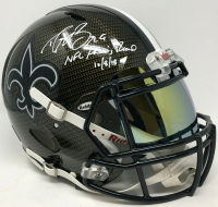 """Drew Brees Signed New Orleans Saints Full-Size Authentic On-Field Hydro Dipped Speed Helmet with Visor Inscribed """"NFL Passing Record 10/8/18"""" (Steiner COA)"""