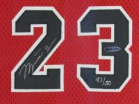 Michael Jordan Signed LE Chicago Bulls 32x42 Custom Framed Jersey Display (UDA Hologram) at PristineAuction.com