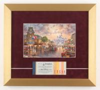 Thomas Kinkade Disneyland 13x14.5 Custom Framed Print Display with Vintage Ticket Booklet