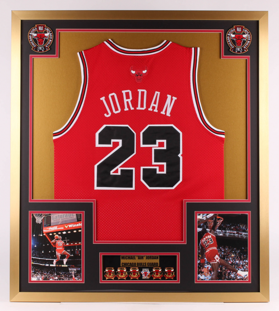 Michael Jordan Chicago Bulls 32x36 Custom Framed Jersey with (6) Championship Pins at PristineAuction.com
