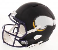 "Randy Moss Signed Minnesota Vikings Full-Size Matte Black Speed Helmet Inscribed ""HOF 18"" (JSA COA) at PristineAuction.com"