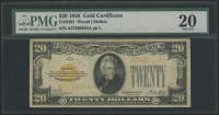 1928 $20 Twenty Dollars U.S. Gold Certificate Currency Bank Note Bill (PMG 20)