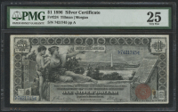 "1896 $1 One Dollar ""Educational Series"" U.S. Silver Certificate Large Size Currency Bank Note (PMG 25)"