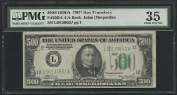 1934 A $500 Five Hundred Dollars Federal Reserve Note - San Francisco - LA Block - FR#2202-L (PMG 35) at PristineAuction.com