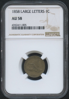 1858 1¢ Flying Eagle Cent - Large Letters (NGC AU 58) at PristineAuction.com