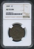1849 1¢ Braided Hair Liberty Head Large Cent (NGC AU 55 BN)