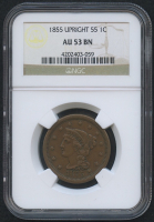 1855 1¢ Braided Hair Liberty Head Large Cent - Upright 55 (NGC AU 53 BN)
