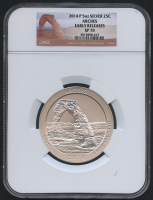 2014-P 5oz Silver Jumbo 25¢ - Arches - America The Beautiful - ATB - Jumbo Quarter - Early Releases (NGC SP 70)
