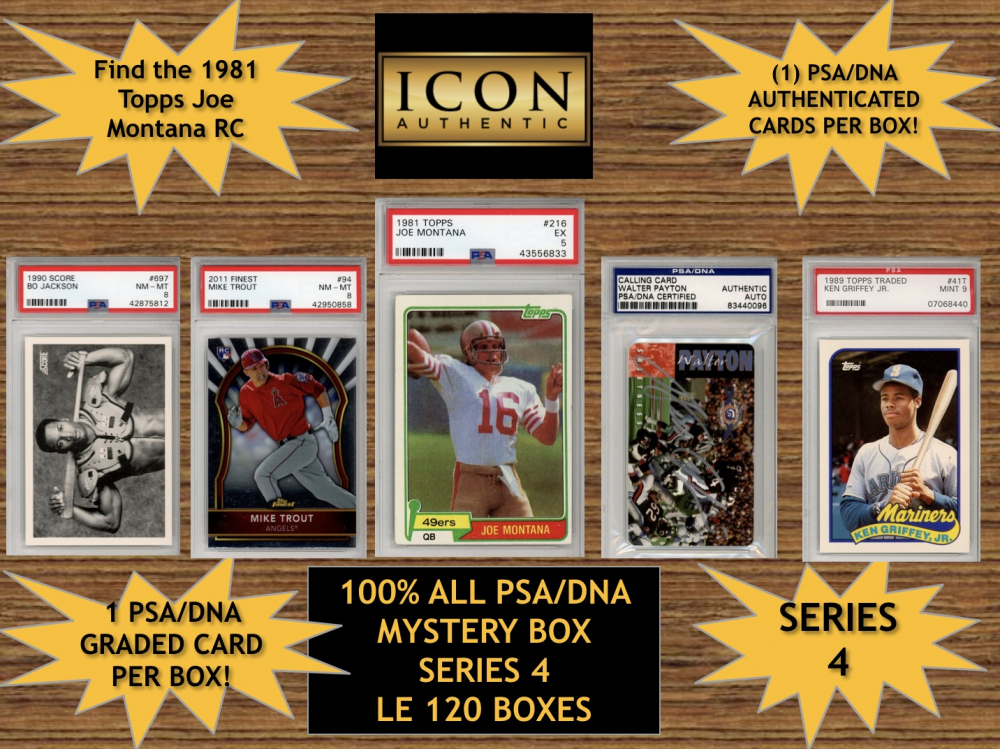 Icon Authentic 100% All PSA Mystery Box Series 4 (Guaranteed 1 PSA Card in Every Box) All PSA Encapsulated at PristineAuction.com
