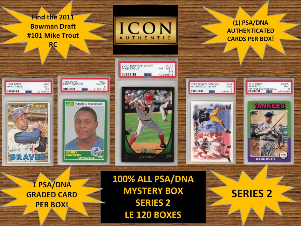 ICON AUTHENTIC  100% ALL PSA MYSTERY BOX SERIES 2  (Guaranteed 1 PSA Card in every box)  ALL PSA Encapsulated at PristineAuction.com