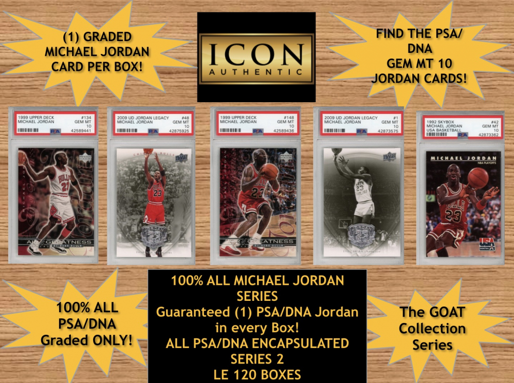 Icon Authentic 100% Michael Jordan Mystery Box Series 2 (Guaranteed Michael Jordan in every box) All PSA Encapsulated at PristineAuction.com