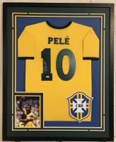 Pele Signed 34x42 Custom Framed Jersey (PSA COA) at PristineAuction.com