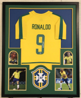 Ronaldo Signed Team Brazil 34x42 Custom Framed Jersey (Beckett COA)